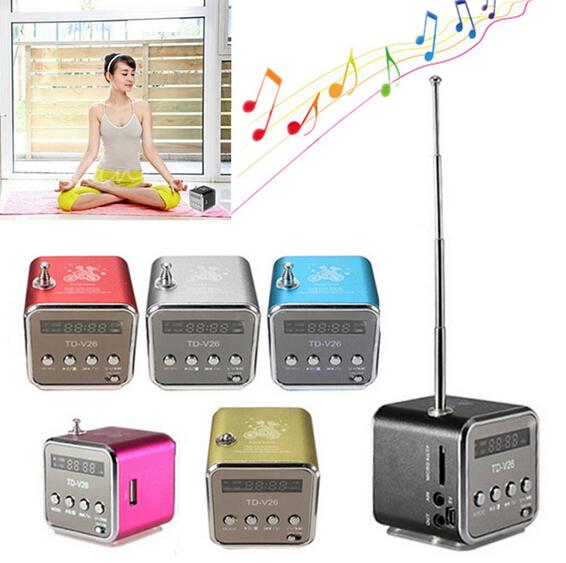 MINI FM radio Portable speaker TD-V26 Music Angel speaker with TF Card slot Loudspeaker subwoofer MP3 player for pc laptop(China (Mainland))