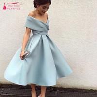 Hot Sale Vestido de Festa Evening Dress Gown Simple Elegant Sky Blue Off The Shoulder Tea
