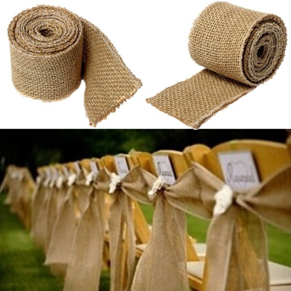 300x6cm Natural Vintage Jute Hessian Burlap Ribbon Rustic Weddings Belt Strap Floristry 300CM Long Wholesale