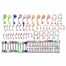 100Pcs/Lot Women Fashion Body Jewelry Eyebrow Navel Belly Lip Tongue Nose Piercing Bar Ring New Hot Jewelry(China (Mainland))