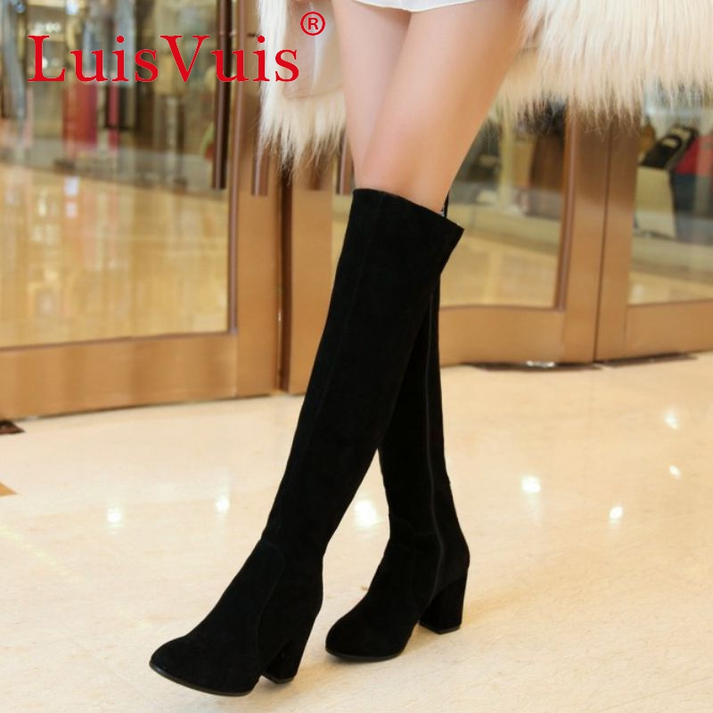Фотография women real genuine leather high heel over knee boots winter warm long boot sexy quality footwear heels shoes R8155 size 34-39