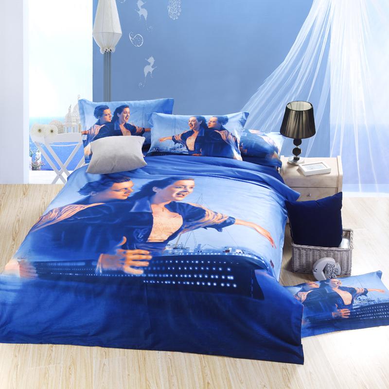 3D Titanic Print Screen Couple Blue Ocean Ship Bedding Set Queen Size Cotton Duvet Cover Set