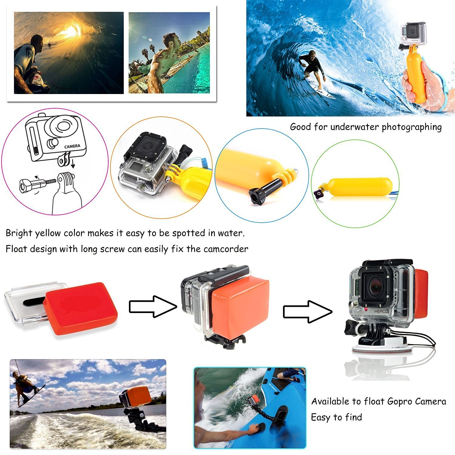 FeoconT Sport Action Camera Accessories Kit Camcorder DV Sets for Gopro Hero Hero1 2 3 3+ 4 Xiaoyi Yi Speical