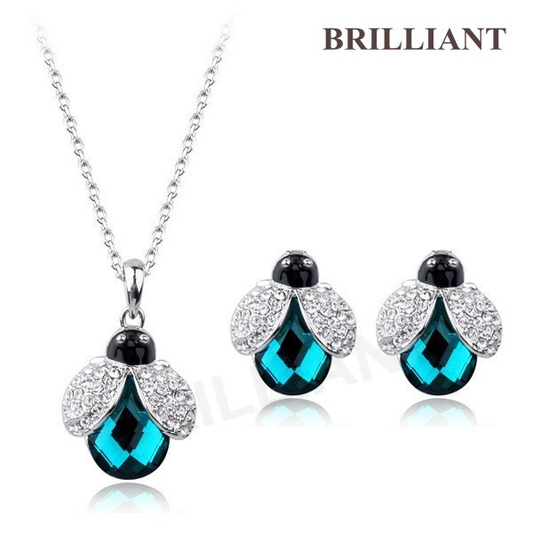 BS389 Lovely Ladybug Blue CZ Pendant 18K White Gold Plated Italina Fashion Jewelry Sets SWA Crystals Necklace & Earrings - Brilliant store