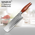 2015 New 73 layers 7 chef knife Japanese Damascus steel kitchen knife Color wood handle high