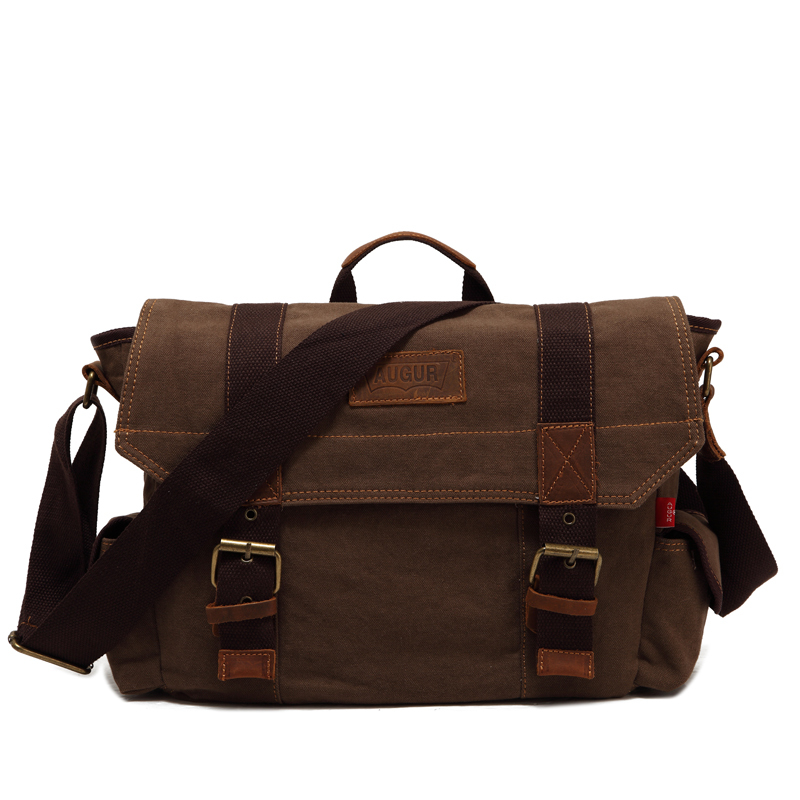 Hot 2015 New brand fashion black men messenger bags high quality canvas bag vintage brown shoulder bags casual men's travel bags