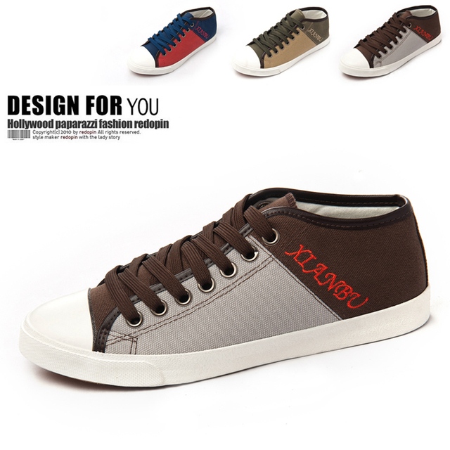 2013 spring the trend of male medium cut casual shoes color block decoration cotton-made canvas shoes male shoes men's
