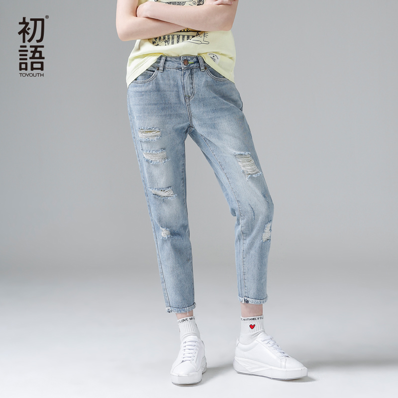 Toyouth Spring Summer New Jeans Women Ankle-Length Straight Mid Waist Jeans Lady Ripped Loose Fashion Trousers Plus Size