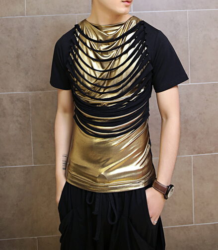 2015 new arrival gold quality shiny man fashion t-shirt loose mens hiphop t shirts pu patchwork men leather t shirt(China (Mainland))