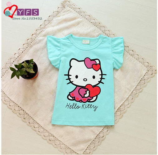 New clever Baby Girls Hello Kitty Tshirt Children Kt Short Sleeve 100%Cotton T-shirt tees Kids Summer Clothes(China (Mainland))