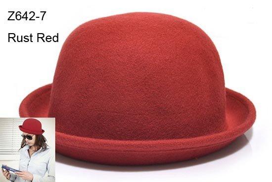 Wholesale Fashion Women Wool Felt Fedora Wool Bucket Hats Lady Winter Cloche Womens Derby Dome Cap Spring Bowler Hat Fall Trilby