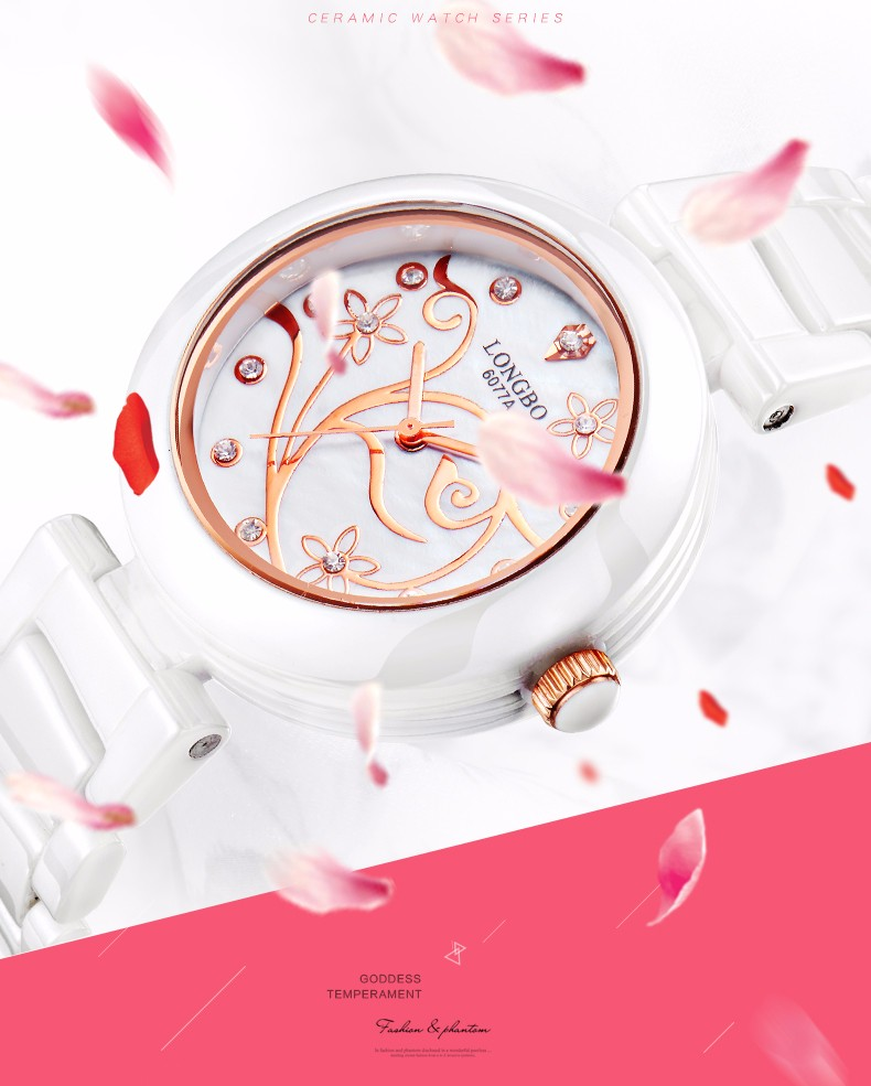 LONGBO Новая Мода Часы Женщины Роскошные Чистый Керамическая Группа Элегантный Цветочным Узором Элегантное Платье Часы Дамы Банкетный Кварцевые Часы