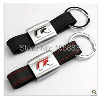 1Alloy Leather Keychain metal Key rings key chains Car Logo Fits VW R line retail box - Sunshine88 store