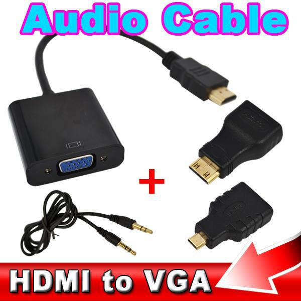 HDMI VGA Audio Cable Micro Mini Male Adapter Female Built-in 1080p Chipset Converter Xbox 360 PS3 PS4 - Shenzhen Kobeton Technology Co., Ltd store