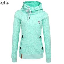 Casual Green Sweatshirt Women Slim Leopard Print Pullover Hoodies Long Sleeve Autumn Winter Front pockets Hoodies @5k(China (Mainland))