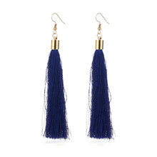 Vintage Ethnische Lange Quaste Drop Ohrringe für Frauen Dame Mode Böhmischen Weiß Rot Seide Stoff Baumeln Ohrring Indischen Schmuck(China)