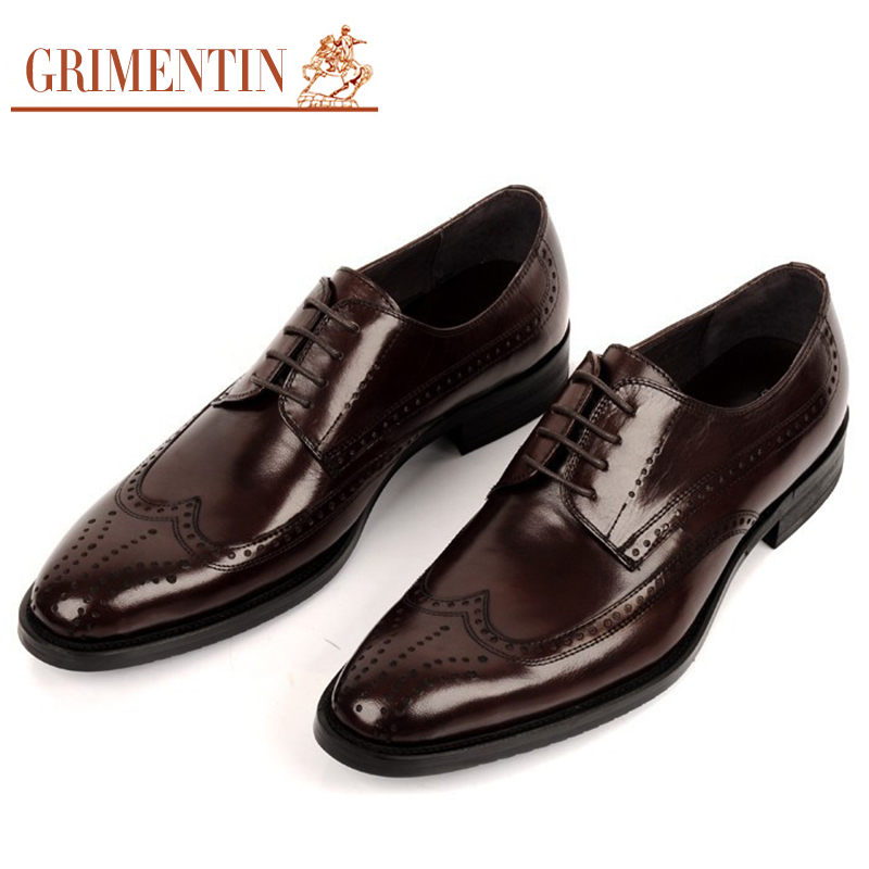 Grimentin Fashion British Style Oxford Shoes For Men Genuine Leather Basic Flats For Man Shoes