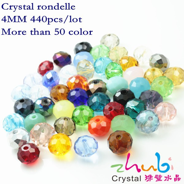 Diy Crystal Rondelle Beads(440PCS/LOT)Craft Jewelry 4mm Crystal Beads China Promotional Fndings Glass Beads for Bracelet Making(China (Mainland))