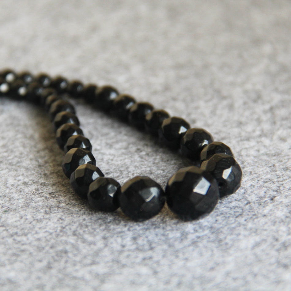 6-14mm Faceted Black Agate beads Necklace women girls Jasper stones 18inch 2pc/lot Jewelry making design wholesale(China (Mainland))