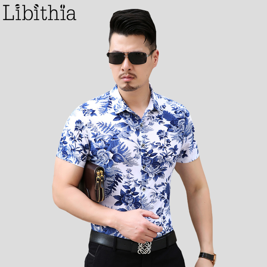men mercerized cotton dress shirt slim fit mens floral
