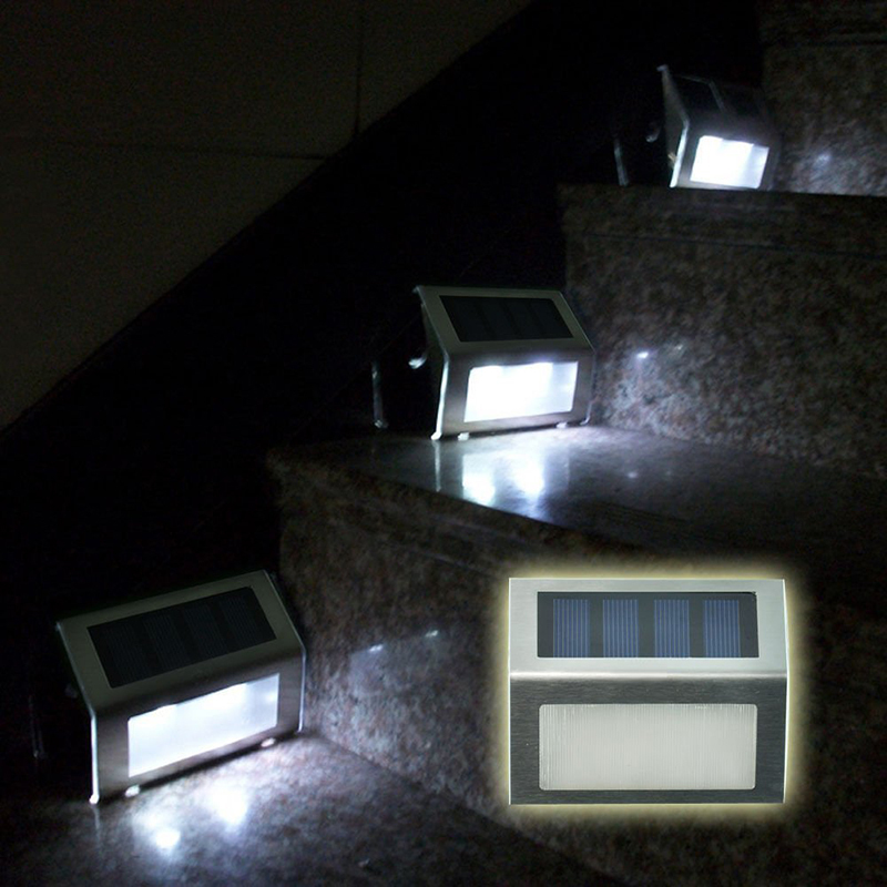 stainless steel led solar step stairs light illuminates stairs deck