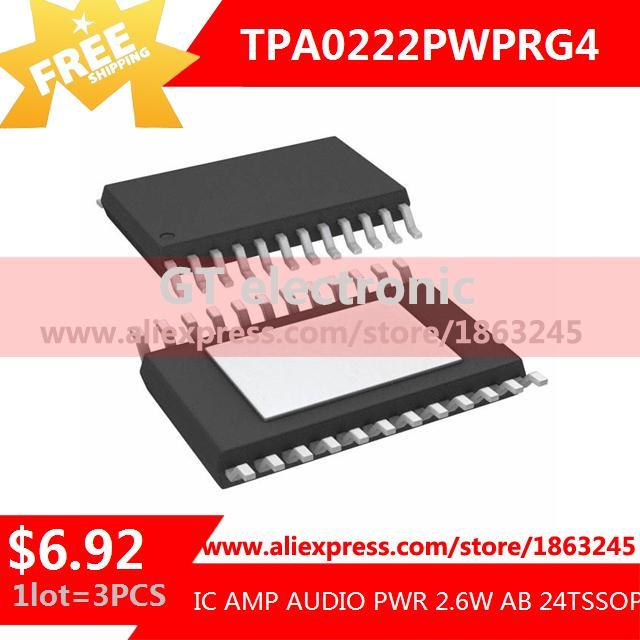 Free Shipping Diy Kit Electronic Production TPA0222PWPRG4 IC AMP AUDIO PWR 2.6W AB 24TSSOP 0222 TPA0222 3pcs(China (Mainland))
