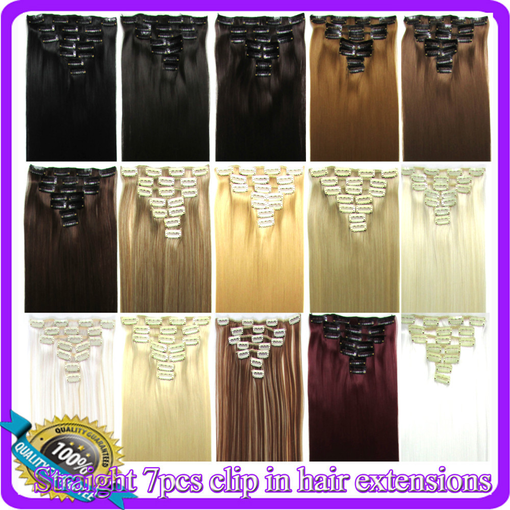 22(55cm) straight clip in hair extensions 130g 7pcs/set hot resistant synthetic, 30 colors available