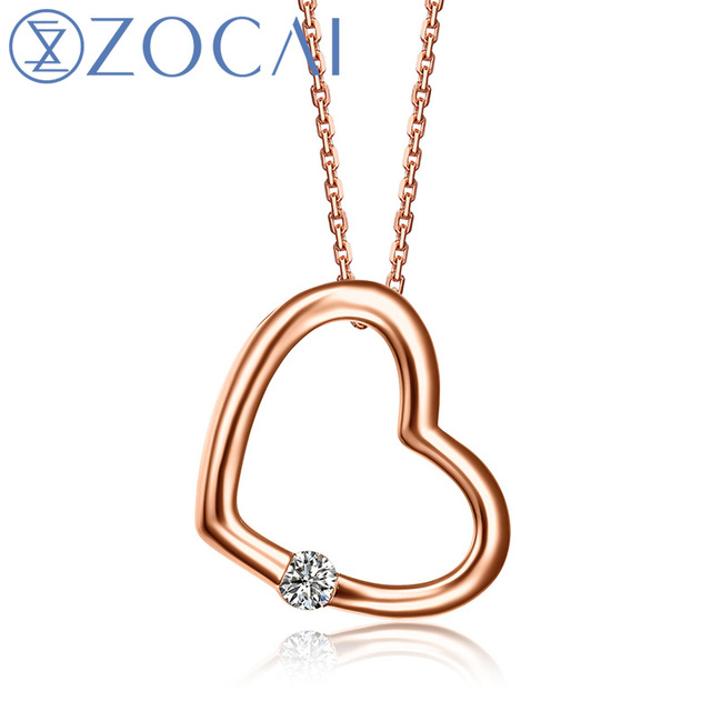 ZOCAI Heart Shape 9K Rose Gold 100% Natural 0.04 CT Certified Diamond Pendant with 925 Silver Chain Necklace D00505