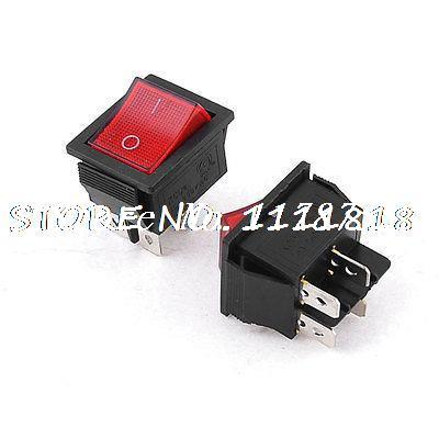 AC250V 15A I/O ON-OFF 4P DPST Red Indicator Lamp Rocker Switch 2 Pieces(China (Mainland))