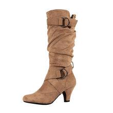 WETKIS Pilili Yüksek Topuklu Çizmeler Sivri Burun Çapraz Bağlı Ayakkabı Kauçuk Kadın Akın Ayakkabı Orta Buzağı Çizme Kadın 2019 kış(China)