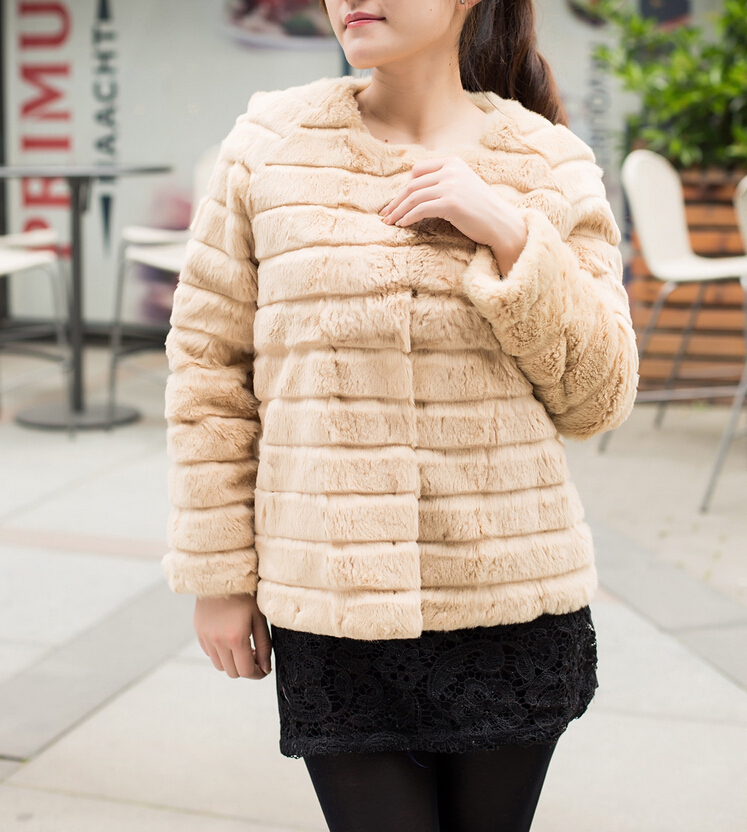 New Arrival Striped Rabbit Fur Coat Fashion Brand Fur Jacket hook front low low discount Free shipping TFP562(China (Mainland))
