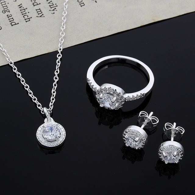 Мода свадьба / обручальное ювелирные изделия устанавливает серебряный кулон ожерелье ...