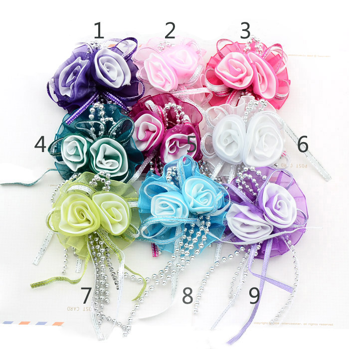 New Rose Flower Shape 20pcs/lot Lady Satin Organza Hair Fabric Brooch Flower Corsage Woman Decoration Accessory 538(China (Mainland))