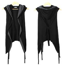 2015 New Men Vest Black With a Hood Belt Sleeveless Summer Thin Cardigan Fashion Night Club Costumes Open Stitch Black Vest(China (Mainland))