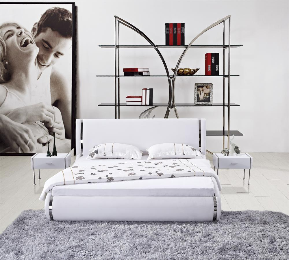 Modern white leather high back soft bed stainless steel for Bed back decoration