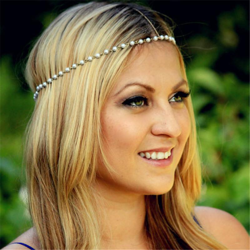 Sunshine 2016 New Beach Metal beads Gold Plated Head Chain Hair Jewelry Tassel Pearl Bindi hair accesories Boho Headband(China (Mainland))