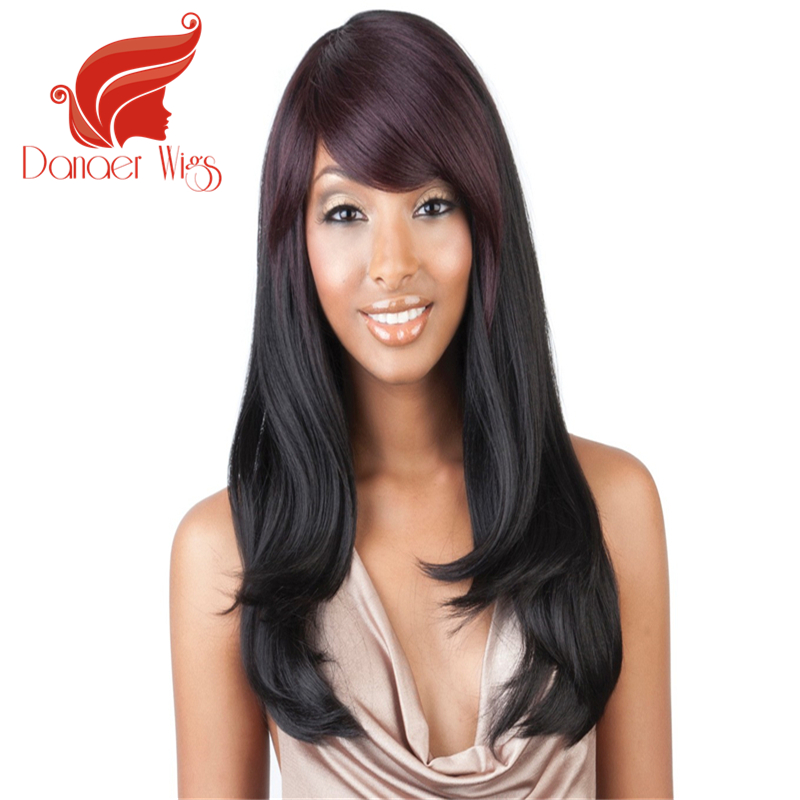 Danaer Hot Sale Hair Wigs Long Black Brown Natural Straight Wigs Synthetic American African Women Ladys Hair that Look Real wig<br><br>Aliexpress