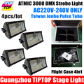 Stackable 4in1 Flight Case Packing with Wheels 4XLOT 3000W Martin Strobe Light Taiwan Jenbo Pulse Tube