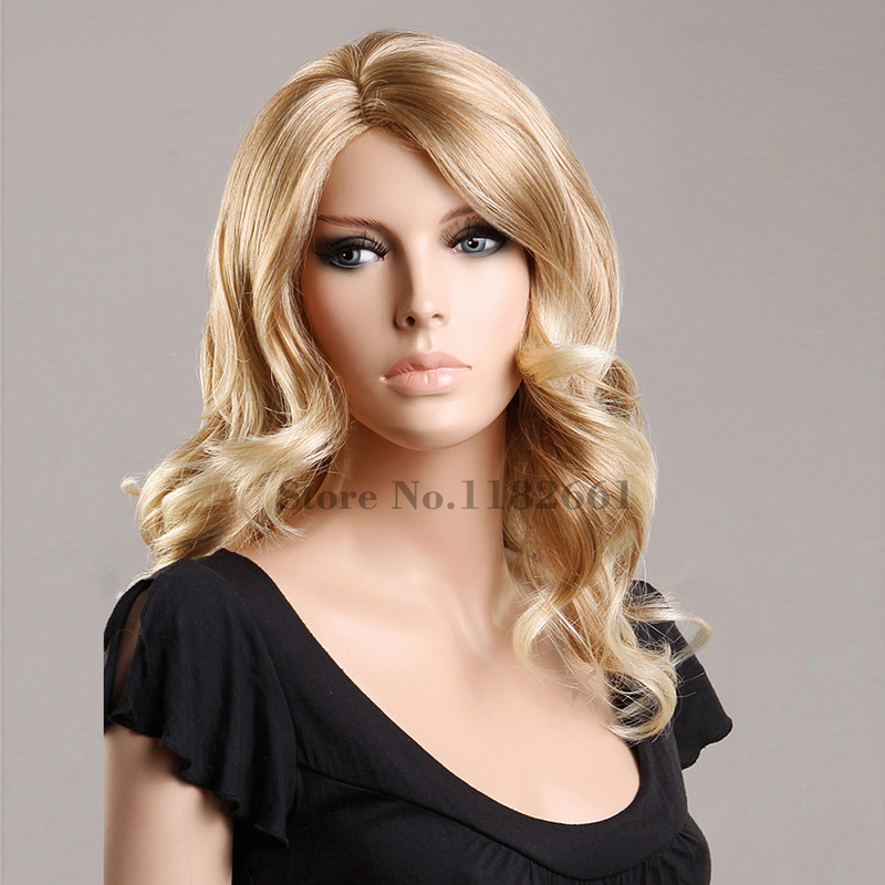 16inch High Quality Heat Resistant Synthetic Japanese Fashion Wigs For White Women Long Wavy Blonde Hair Peruca Free Shipping