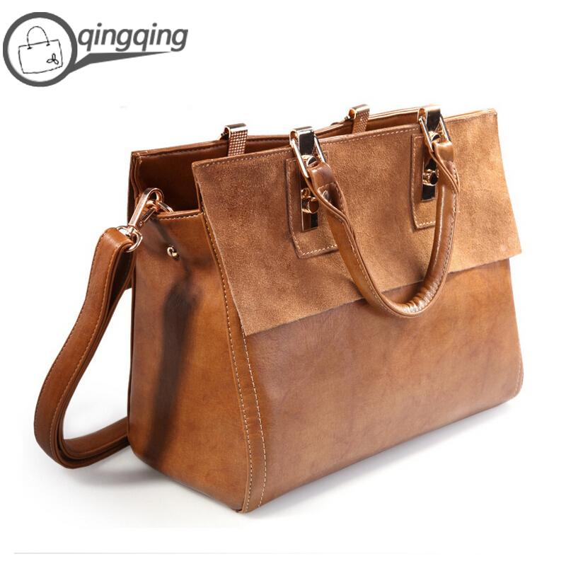 2015 Hot Women leather handbags Brown Vintage Nubuck Genuine Leather Cowhide Bag Shoulder Bags Designer Handbags High Quality(China (Mainland))