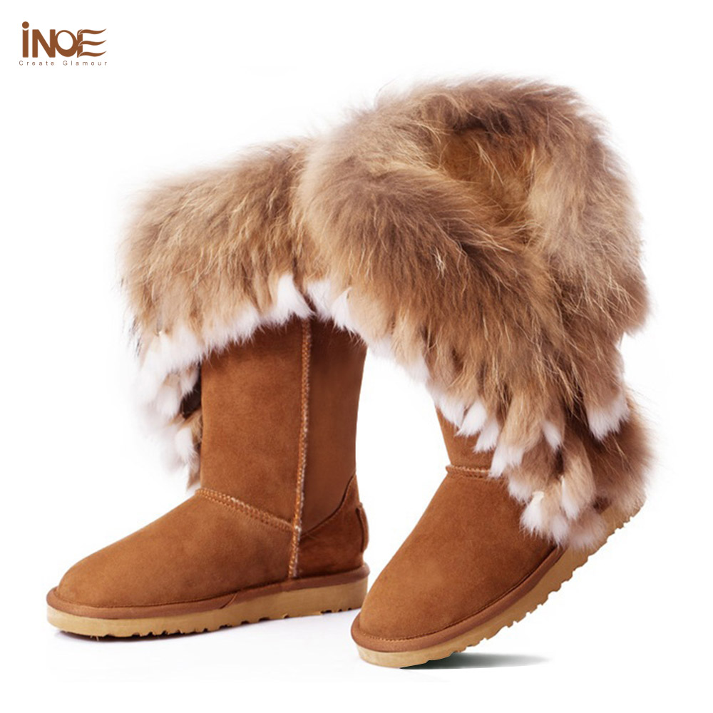 Fashion edging real big rabbit fox fur girls genuine leather snow boots for women winter boots tassels flats shoes high quality(China (Mainland))