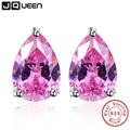 Pink Topaz Earring Stick Fashion Water Drop Stone Stud Earring Piercing 925 Sterling Silver Jewelry Wholesale