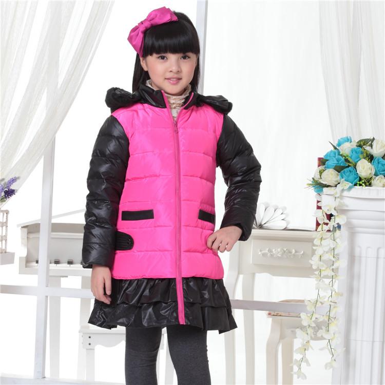 2015 winter new children's clothing children down jacket girls thicker solid long coat jacket-season