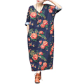 Newest Women Dress 2016 Summer Linen Casual Dress V neck Vintage Print Long sleeve Loose waist