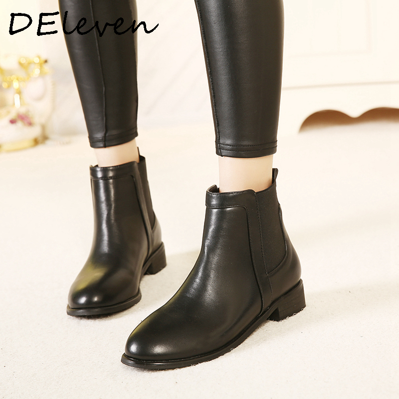 Autumn Winter Round Toe Woman Flats Boots Martin Ankle Booties Female Boot Black<br><br>Aliexpress