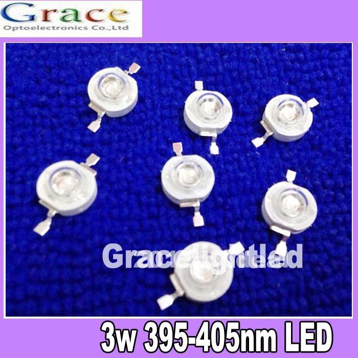 NEW 50pcs 3W UV ultraviolet 395-405nm high power LED 3watt purple Light free shipping(China (Mainland))