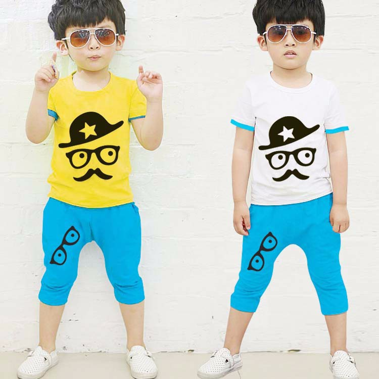 new 2015 summer Boys clothing sets kid cotton casual printing short sleeve pants 2 piece children
