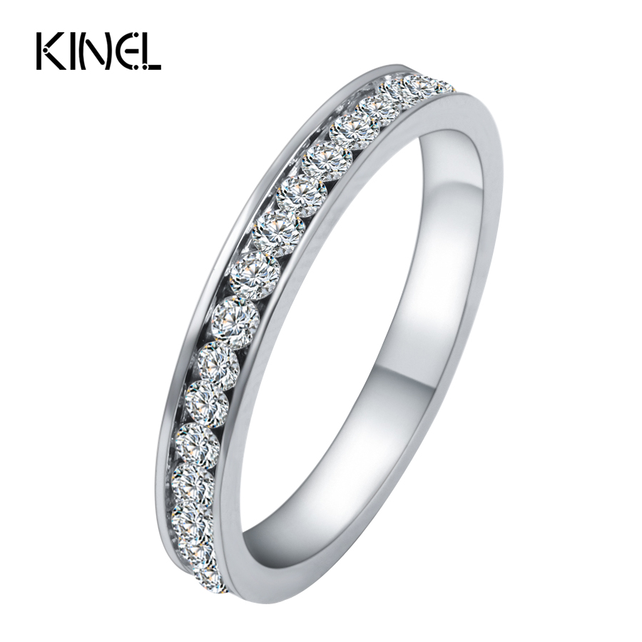 Size 6 12 Luxury Engagement Ring Stainless Steel Silver Crystal Wedding Rings For Women And Men