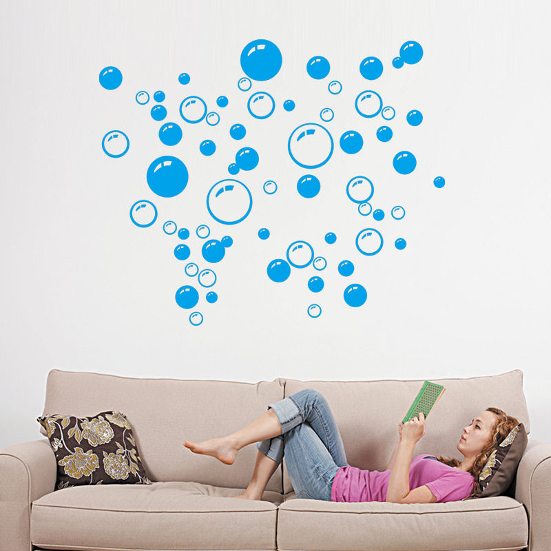 beauty black hot pink blue bubble wall sticker wallpaper