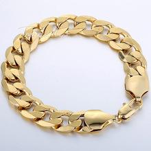 12mm Gold Filled Bracelet Wholesale Mens Boys Chain Bracelet Curb Chain Wholesale Gift Jewelry 7-11inch LGB196(China (Mainland))